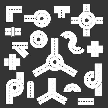 Road elements parts icons set vector white isolated on grey background  Illustration