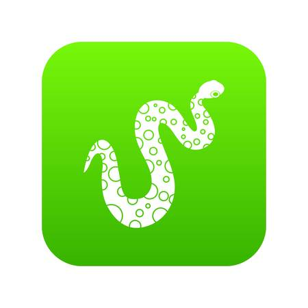 Dotted snake icon digital green for any design isolated on white vector illustration