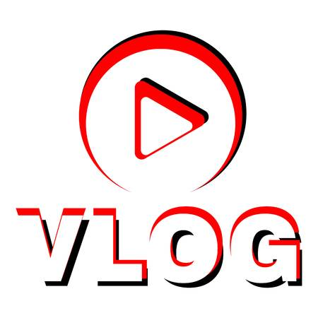Play vlog icon. Flat illustration of play vlog vector icon for web. Illustration
