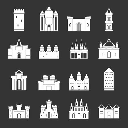 Towers and castles icons set vector white isolated on grey background.