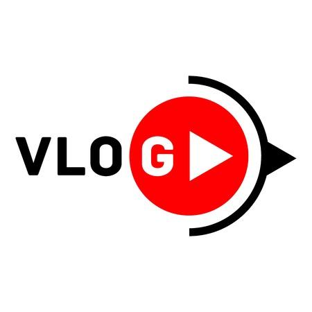 Vlog active logo, flat style