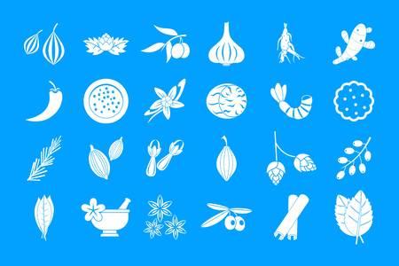 Spices icon blue set vector Stock Vector - 98891706