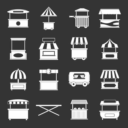 Street food truck icons set grey vector