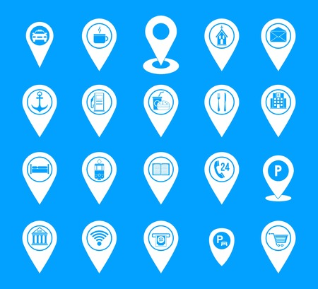 Map pins icon blue set vector Vectores