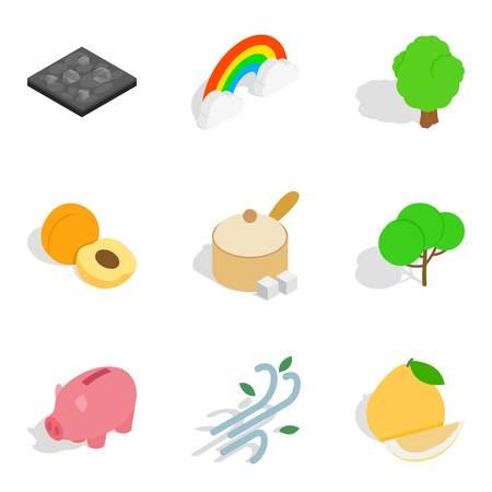 Life vitality icons set, isometric style