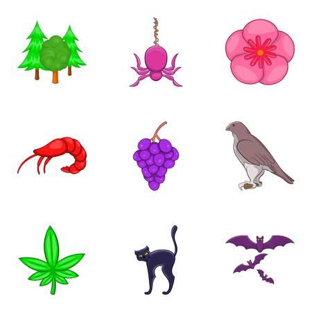 Earth kingdom icons set, cartoon style Ilustração