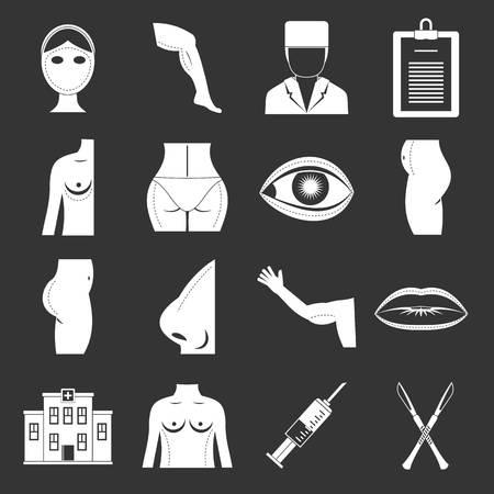 Plastic surgeon icons set grey vector