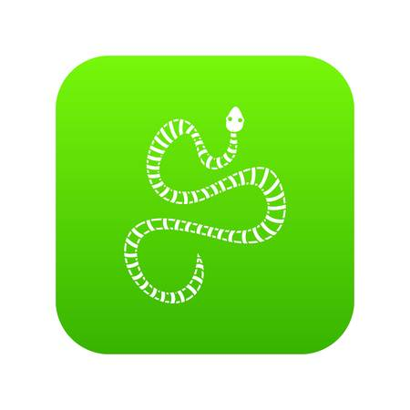 White striped snake icon digital green