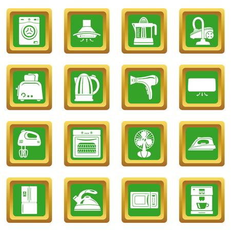House appliance icons set green square vector
