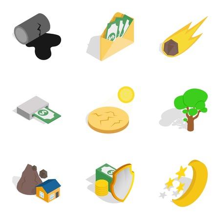 Life tone icons set, isometric style Ilustração