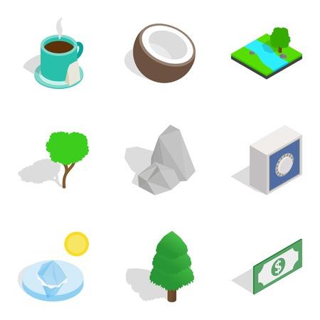Life force icons set, isometric style Illustration