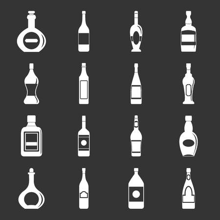 Bottle forms icons set grey vector