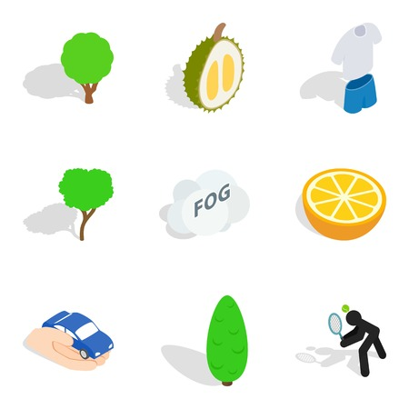 Vitality food icons set, isometric style
