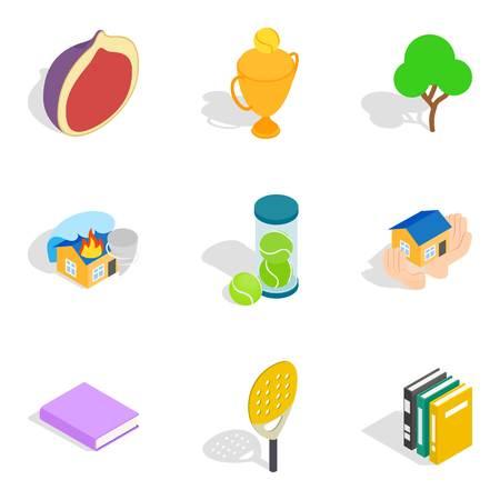 Liveliness icons set, isometric style