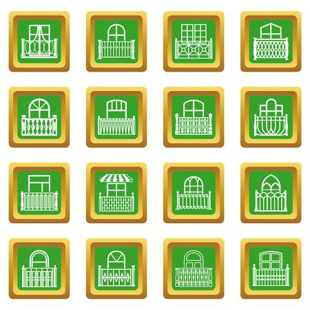 Balcony window icons set green square vector