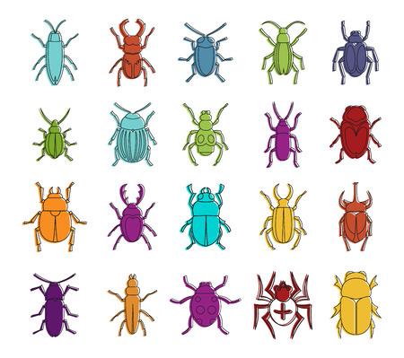 Bugs icon set on different colored illustration. Ilustracja