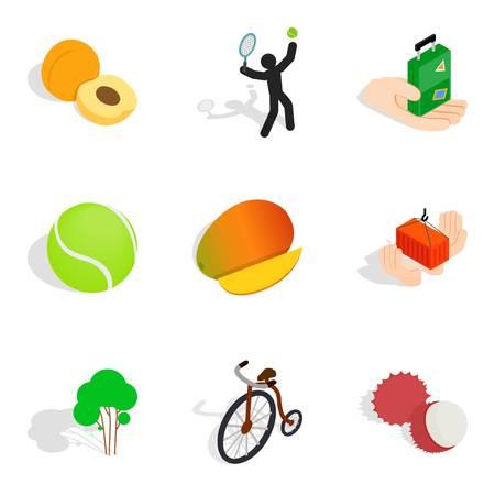 Agility icons set, isometric style