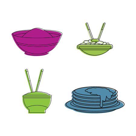 Food on plate icon set, color outline style