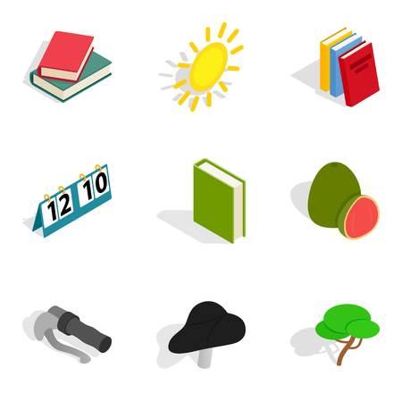 Renewal life icons set, isometric style
