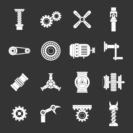 Techno mechanisms kit icons set grey vector Illustration