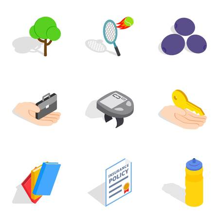 Revival icons set, isometric style
