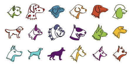 Dogs icon set, color outline style Illustration