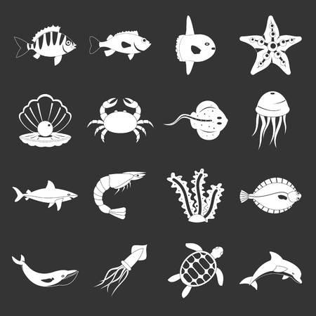 Sea animals icons set grey vector Illustration