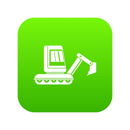 Mini excavator icon digital green