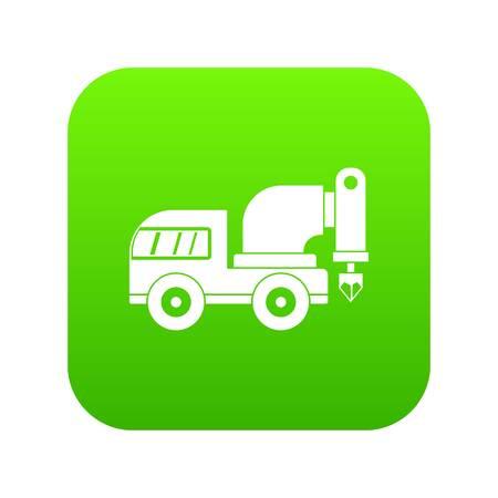 Drilling machine icon digital green