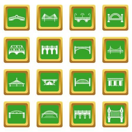 Bridge icons set green square vector Illustration