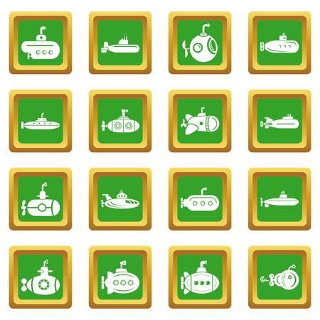 Submarine icons set green square vector Illustration