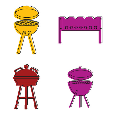 Bbq tools icon set, color outline style