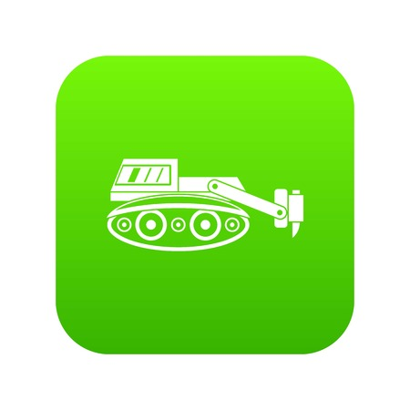 Excavator with hydraulic hammer icon in digital green Illustration.