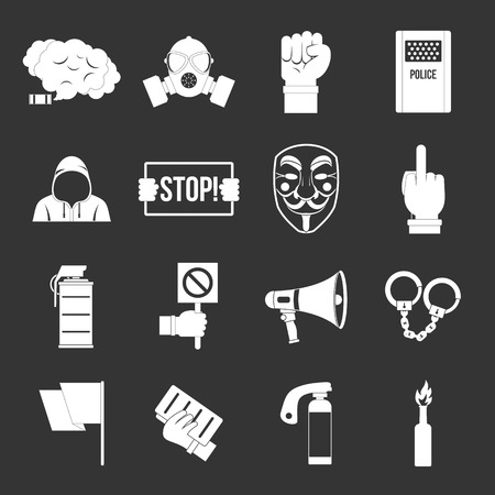 Protest icons set vector white isolated on grey background  Vectores