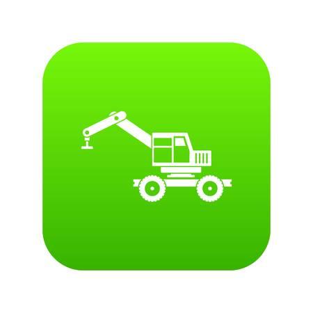 Crane truck icon digital green
