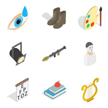 Task icons set, isometric style