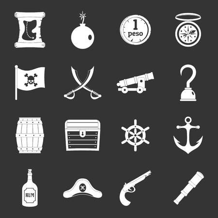Pirate icons set in silhouette Illustration. Vettoriali