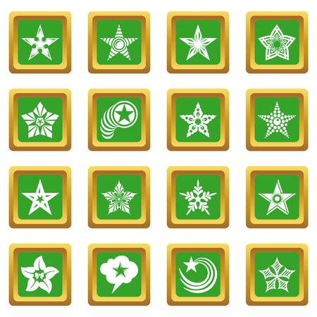 Decorative stars icons set vector green square isolated on white background   イラスト・ベクター素材