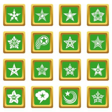 Decorative stars icons set vector green square isolated on white background  Ilustração