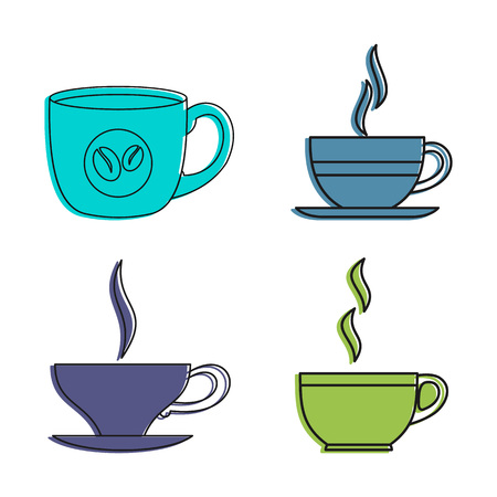 Coffee cup icon set. Color outline set of coffee cup vector icons for web design isolated on white background Illustration