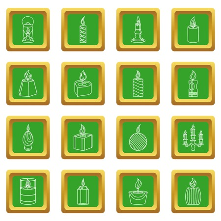 Candle forms icons set vector green square isolated on white background  Vectores