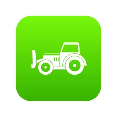 Skid steer loader bulldozer icon digital green for any design isolated on white vector illustration