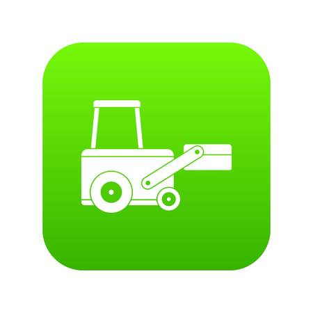 Truck to lift cargo icon digital green