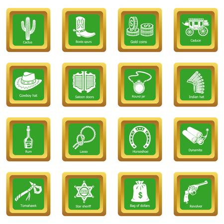 Wild west icons set green square vector Illustration