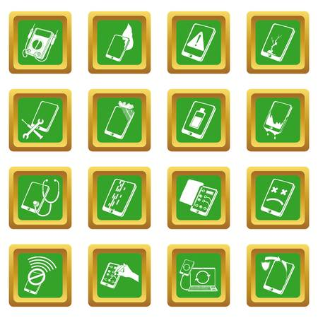 Repair phones fix icons set green square vector