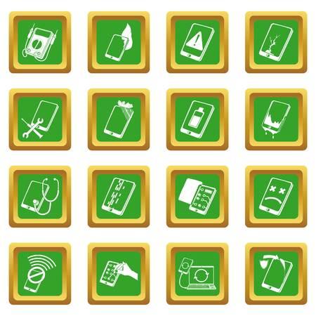 Repair phones fix icons set green square vector