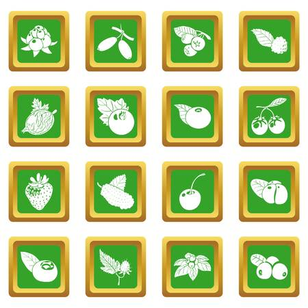 Berries icons set green square vector Illustration