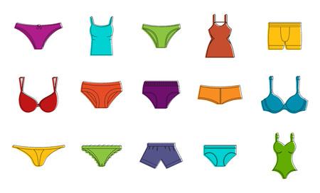 Set di icone di biancheria intima, stile contorno colore