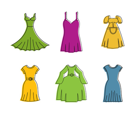 Dress icon set, color outline style