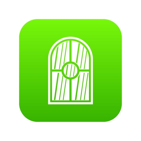 Arched window icon digital green for any design isolated on white vector illustration